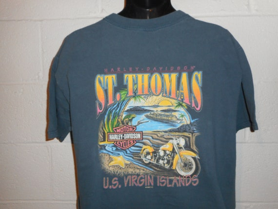 Vintage 1990s 1998 deadstock NWT Harley Davidson Seattle Washington skyline futuristic mechanic graphic tee eagle motorcycle XL navy blue