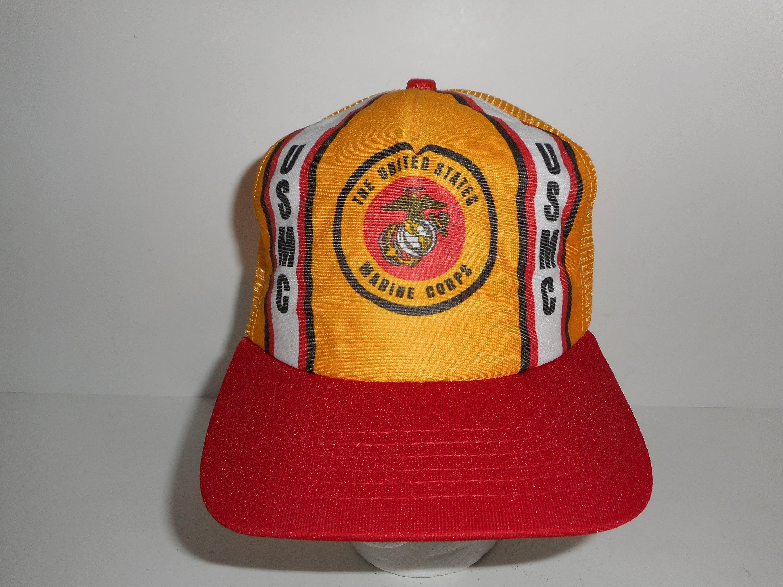 Vintage 80s USMC Marines Snapback Trucker Cap Hat  2b2c2e5ff27