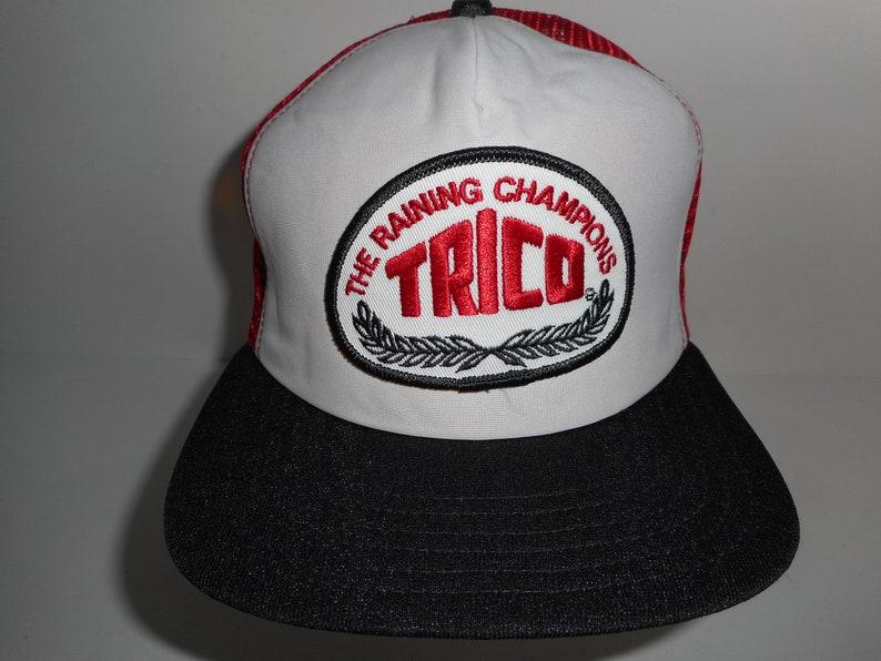 fdcd36d38d0e0 Vintage 80s Trico Raining Champions Patch Trucker Snapback Cap
