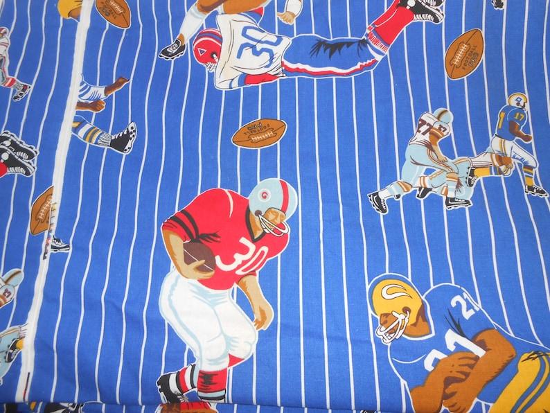 Vintage Blue Pin Stripe Football Sports Novelty Fabric 68 x 129