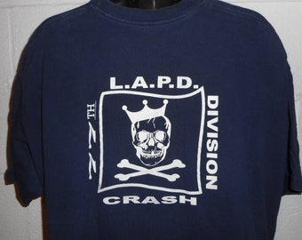 Vintage 90s LAPD CRASH (Community Resources Against Street Hoodlums) 77th Precinct Gang Unit T-Shirt 3XL XXXL