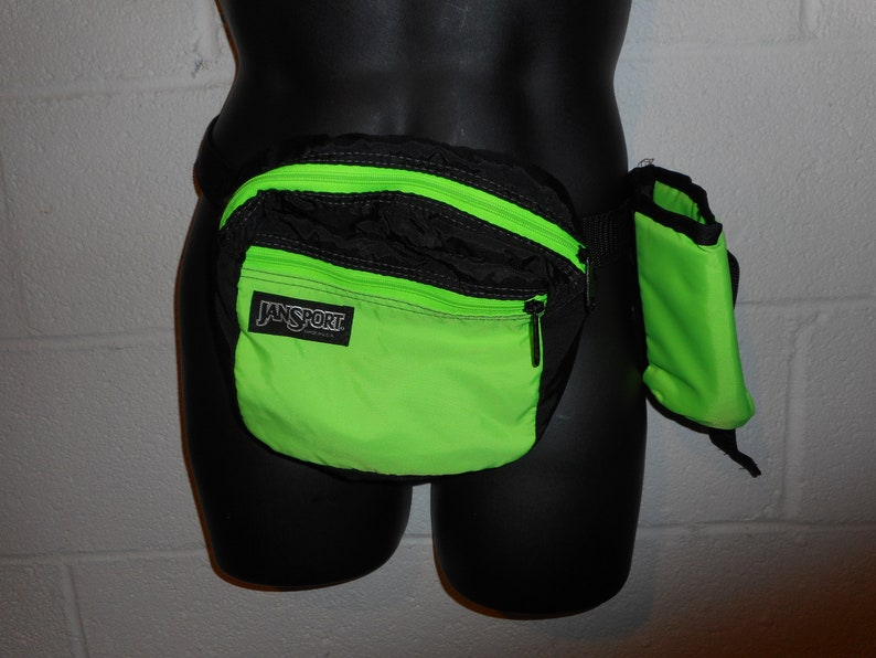 6aba0f7905d Vintage Neon Green Jansport Fanny Pack Waist Pack   Bottle