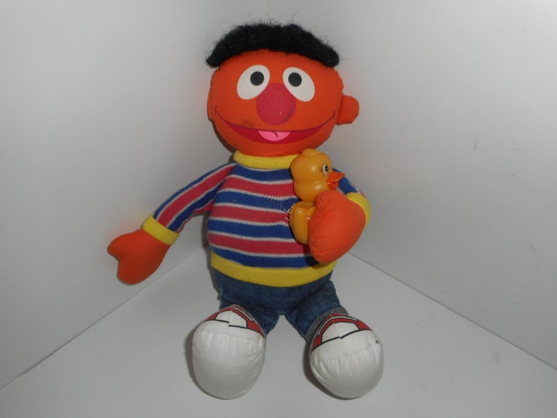Vintage 80s Applause Sesame Street Ernie & Rubber Ducky Plush Toy 12