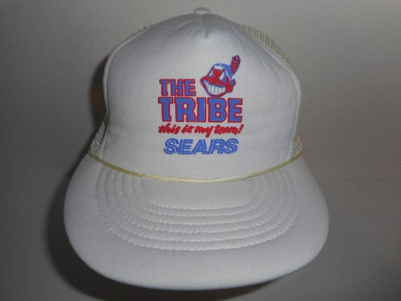 ca95c004bd5 Vintage 80s Sears Cleveland Indians Chief Wahoo Tribe Trucker