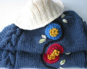 Sweater coat BLUE MOUNTAIN hand knit
