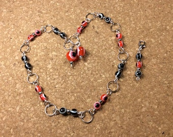 Row Counter - Number Row Counter for knitting or crochet - Counts to 100 - red and black - stitch marker - stitch saver - 11 us