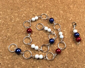Row Counter - Number Row Counter for knitting or crochet - Counts to 100 - red, white and blue - usa -  stitch marker - stitch saver - 11 us