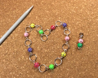 Row Counter - Number Row Counter for knitting or crochet - Counts to 100 - rainbow - chain marker - stitch marker - saver - 11 us
