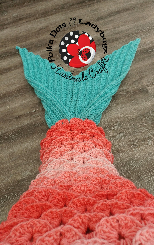 Crochet Child Mermaid Tail Blanket Shell Stitch Mermaid Etsy