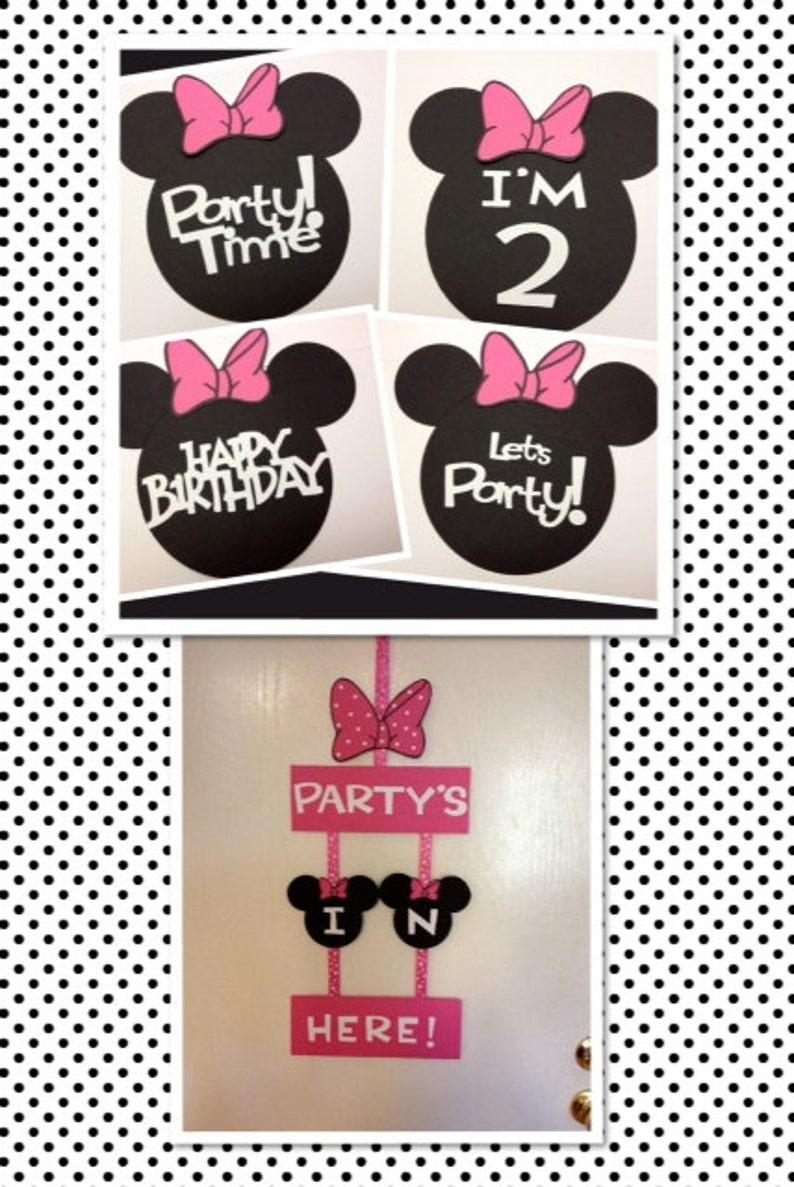 Minnie Centerpiece Minnie BannerMinnie Door Sign Personalized Minnie Mouse Birthday Decorations Package