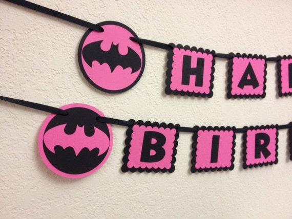 Super Hero Batman Batgirl Happy Birthday Banner
