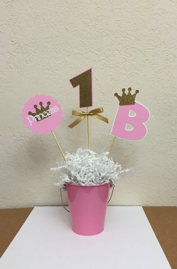 Pink and gold princess crown centerpiece skewers etsy