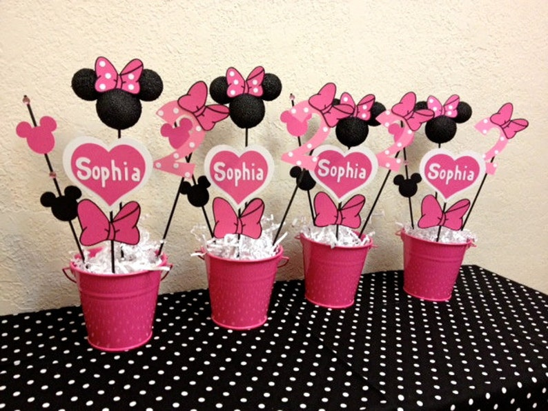 Minnie Mouse Birthday Decorations Set Of 4 Centerpieces