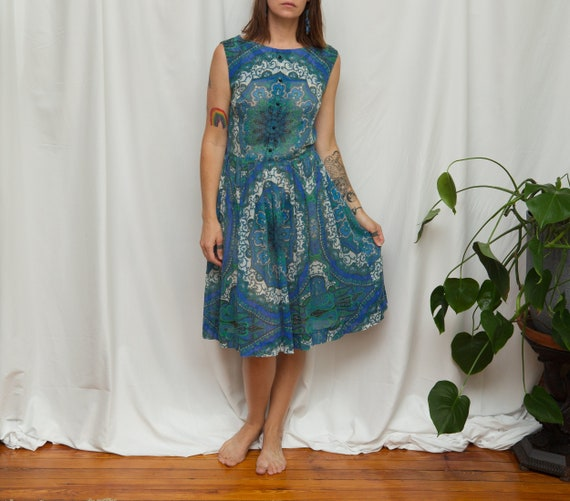 Size M, 1950s Blue & Green Paisley Psych Print Dre