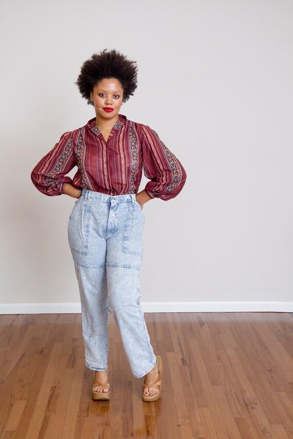 Size L, 1980s Pleated Stonewashed Denim Jeans by W