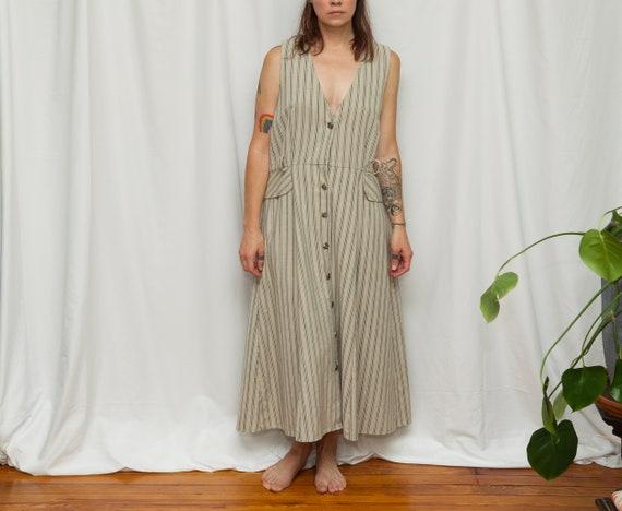 Size L, 1990s Linen Pinstriped Tank Apron Dress