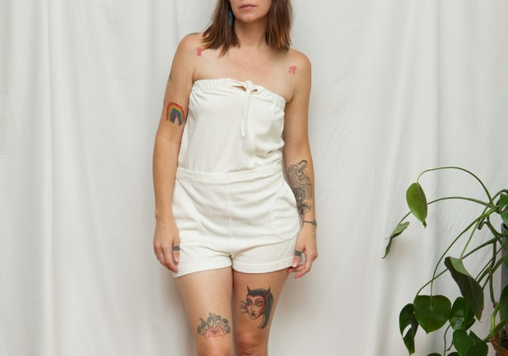 Size S/M, 1970s White Terrycloth Pocketed Romper