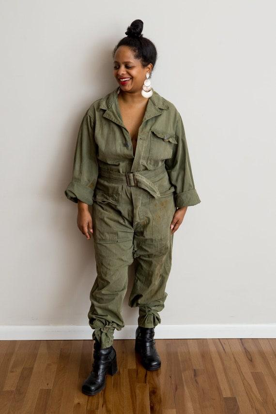Size L • 1940s WWII Olive Green Denim Jumper Fligh