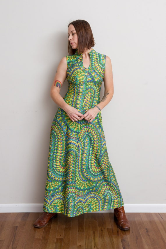 Size M, 1970s Green Psychedelic Print Maxi Dress