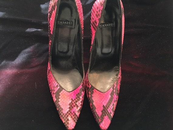 b90cf980374 Casadei pink snakeskin pumps | Etsy