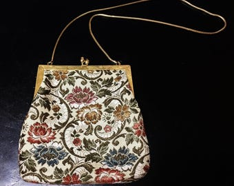 Vintage Handmade Evening Purse with Embroidered Floral Design and Gold Tone Snake Mesh Chain