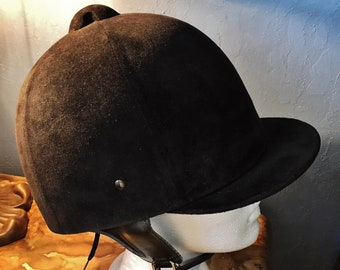Vintage Lexington Safety Products Black Velvet Equestrian Riding Helmet Size 7-1/8 - Made in USA