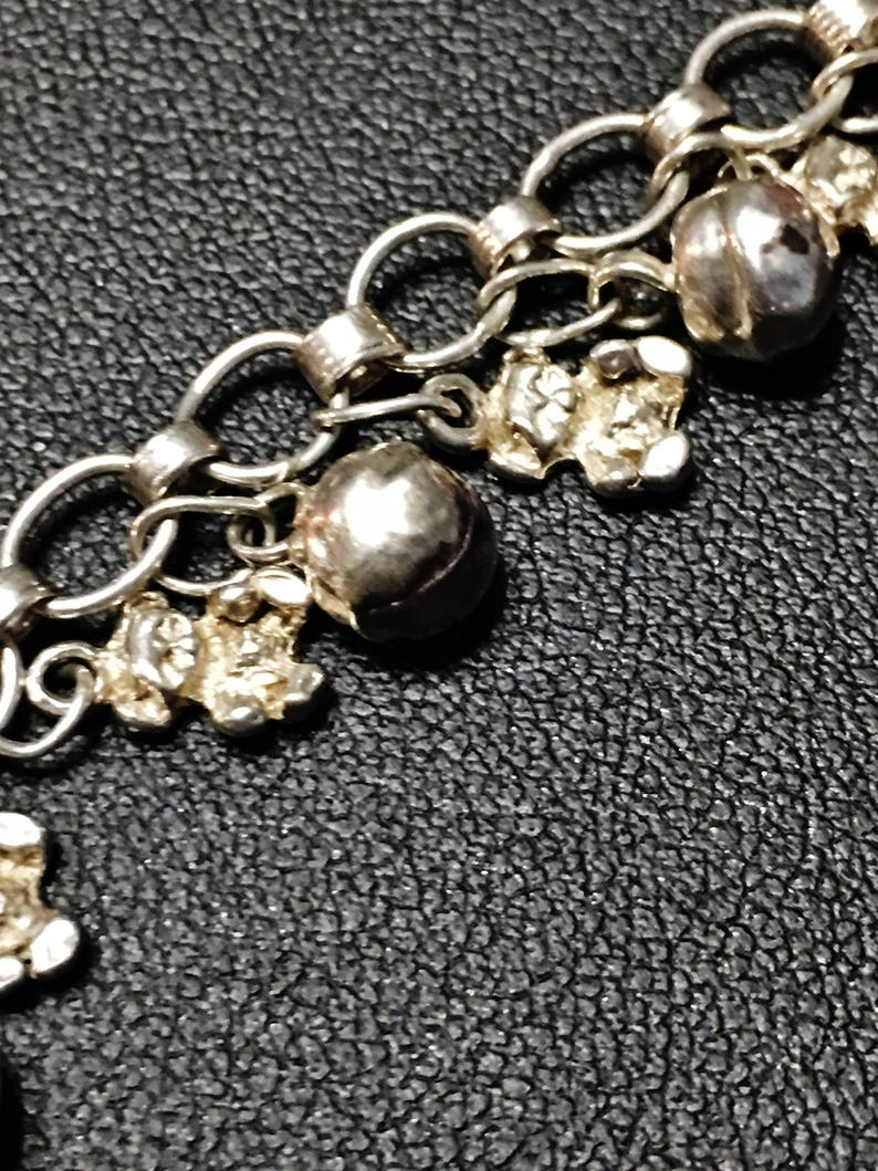 Adjustable to 7-14 Inches Vintage Teddy Bear and Bell Sterling Silver Rolo Charm Bracelet