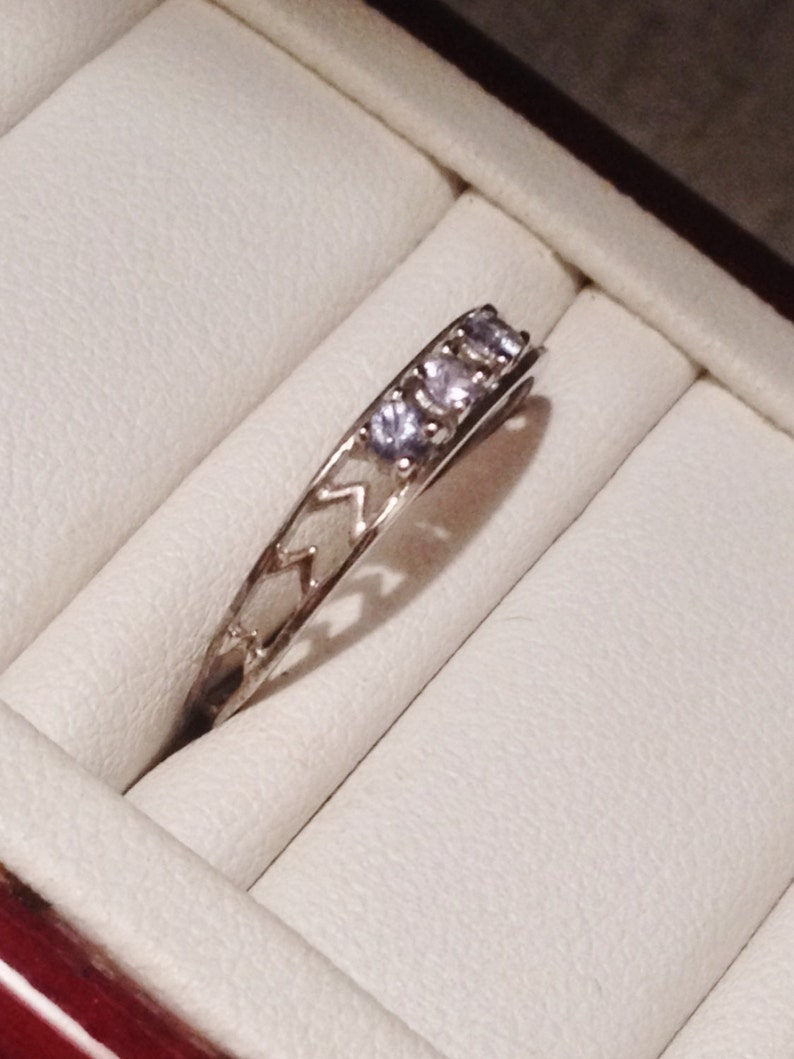 Delicate Sterling Silver .20 ctw Tanzanite Band Ring