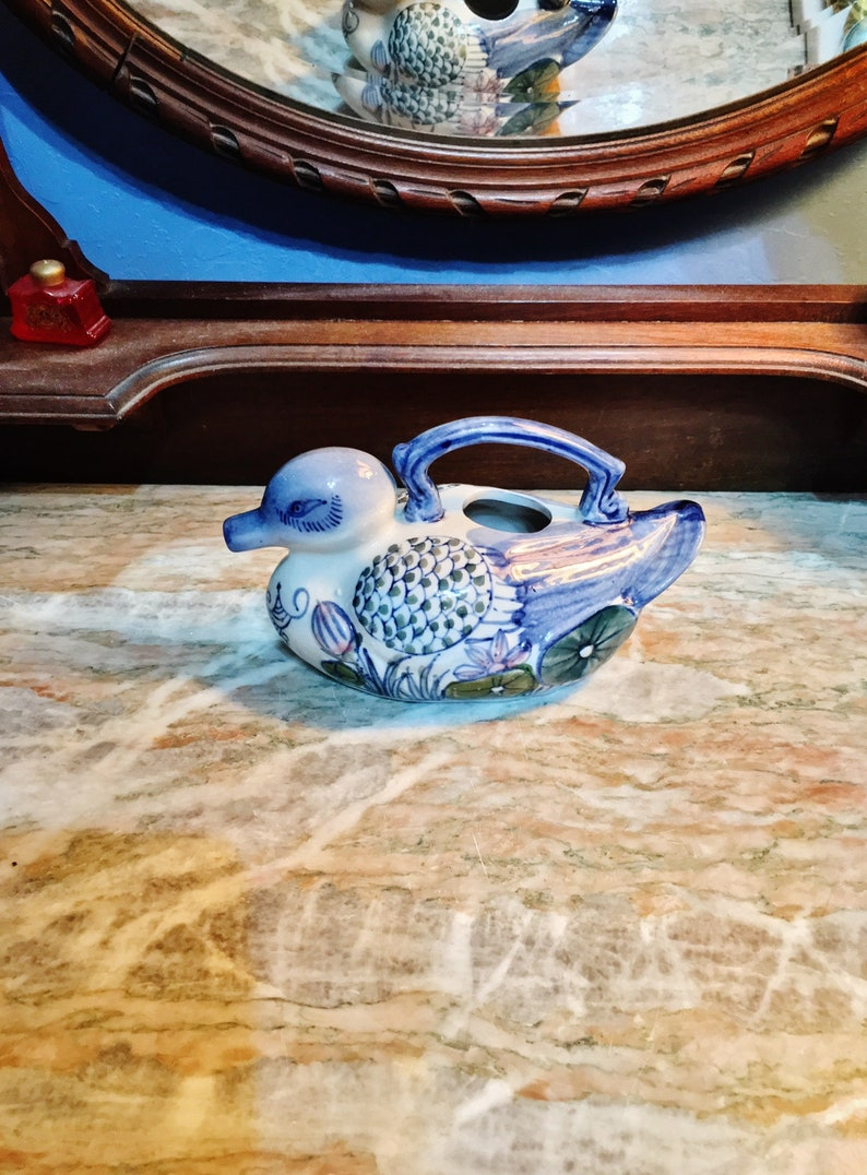 Vintage Ceramic Hand Painted Blue White Pink and Brown Duck Top Handle Teapot Green