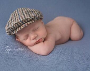ccb8b21a79001 Newborn size tweed flat cap hat baby baby boy photo prop hat farmer hat
