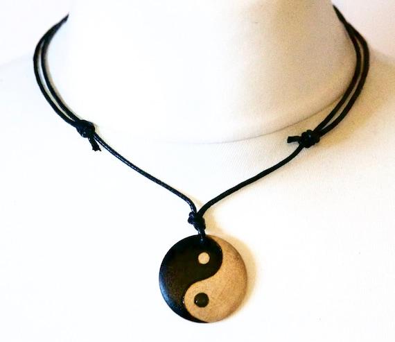 vintage Boho YIN AND YANG Black Leather Cord Choker Charm Necklace Pendant HS0