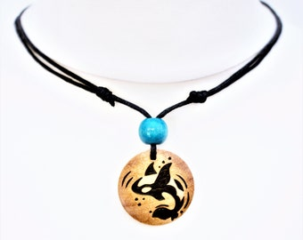Orca Necklace Killer Whale Pendant Sea Gift Ocean Wildlife Free Spirit Freedom Gifts for Her Him Wild Adventure Wood Burning Jewellery