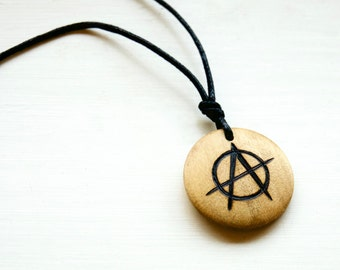 Anarchy Necklace Anarchism Symbol Mens Jewellery Pendant Wooden Unisex Choker Anarchist Gift