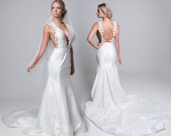 Wedding dress, Bridal gown, Made in Australia by designer, Elegant gown,Backless Wedding dress,Sleeveless wedding dress,Silk,Silk Gown
