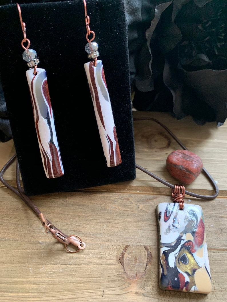 Design/'s by Cyere Original Antique Copper Finish Multi color Earring and Necklace Set B