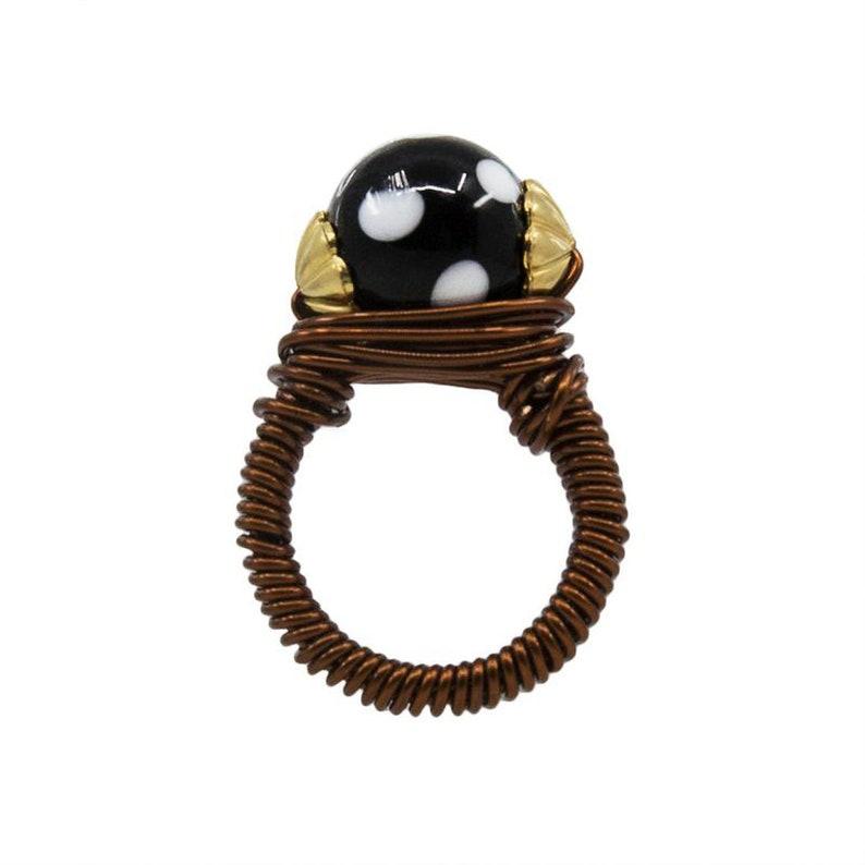 Handmade in New York by Alzerina Jewelry Copper and Gold-Plated Conta Di Ojo Darina Ring