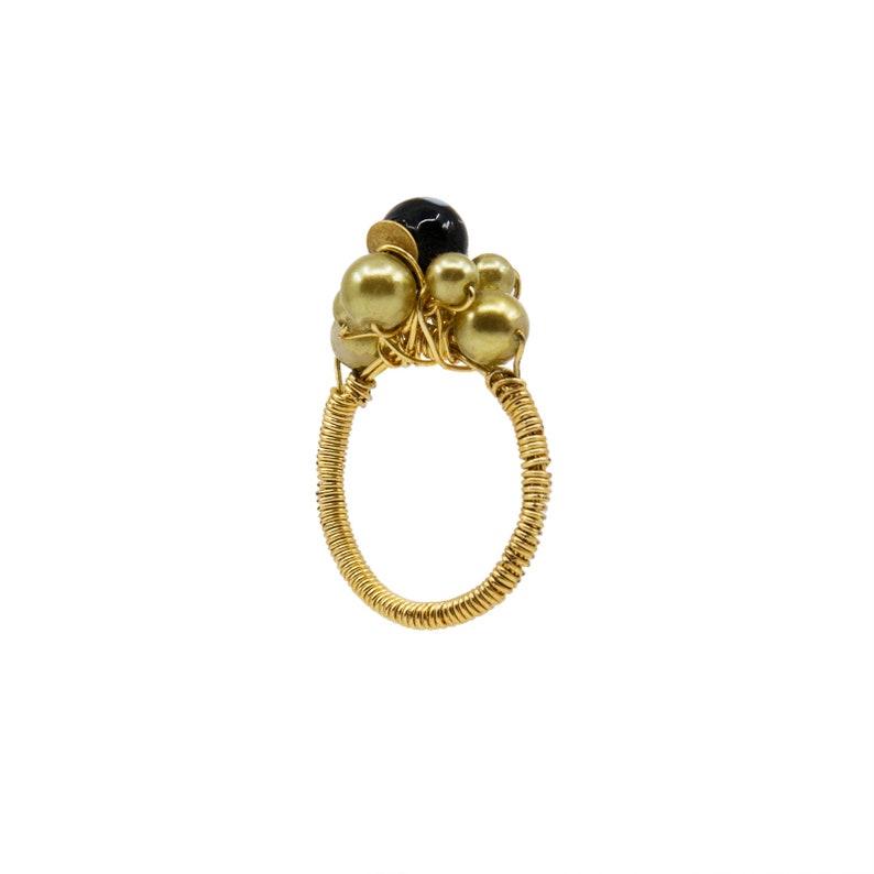 Handmade in New York by Alzerina Jewelry Avant Garde Conta Di Ojo Rosa Statement Ring