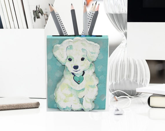 Maltese pencil holder, pencil holder, dog lover gift, pencil holder for desk, teacher gift, pen holder, girl boss, maltese dog