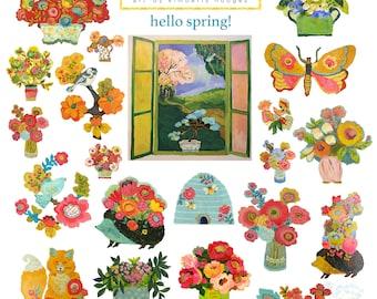Hello Spring! Aesthetic stickers, flower sticker sheet, flower stickers, bujo stickers, phone case stickers,  kawaii stickers, sticker sheet