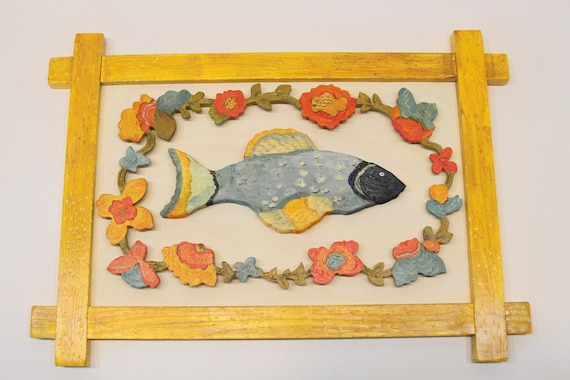 Provence Fish wood sculpture with handmade and carved frame by Kimberly Hodges, carved wood wall art, carved wood signs, swedish folk art
