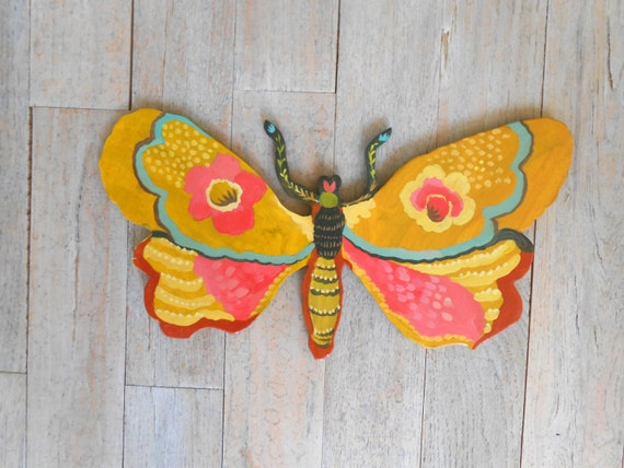 Joyful Moth Wood Wall Sculpture by Kimberly Hodges, butterfly wall decor, painted moth, tween decor, girls decor, nursery decor