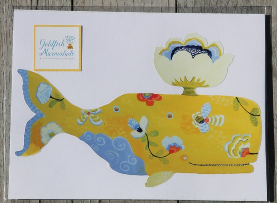 Yellow whale decal by Kimberly Hodges, whale sticker, whale decal, yeti decal, whale, whale stickers, whale lover, macbook whale decal