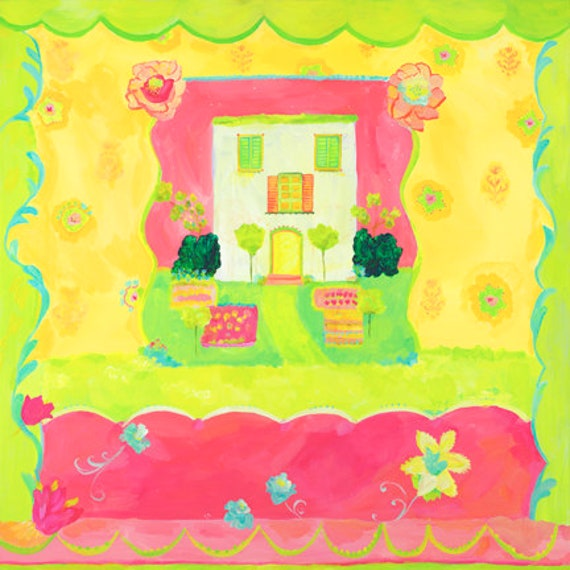 Spring green house canvas by Kimberly Hodges, 18x18 canvas, 24x24 canvas, 36x36 canvas, provence style kid art, cottage art, wall art decor