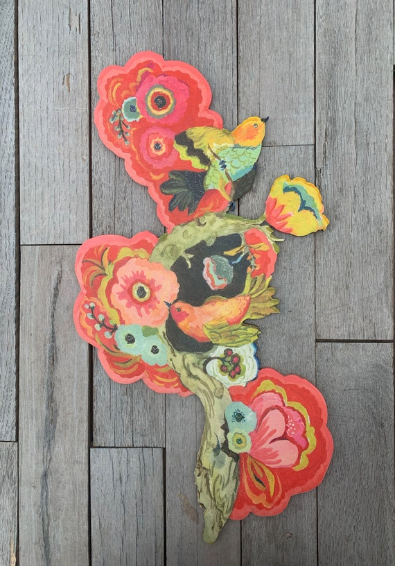 Red Thorn birds wood sculpture, colorful wall art, lovebird art, folk art sculpture, colorful art, lovebirds, folk art, wedding gift