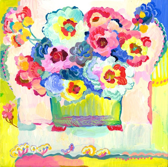 Apricot Pansies Giclee Watercolor print by Kimberly Hodges, 12 x 12, 14 x 14, 20 x 20, pansies, pansy art