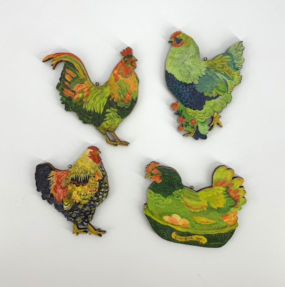 Backyard chickens ornament set, chicken ornaments, chicken ornament, wyandotte ornament, brahma chicken ornament, chicken ornament set