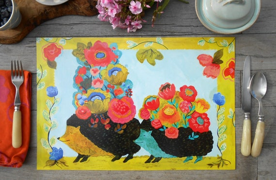 Paper placemat set of 12 Summer in Provence, Hedgehog designs by Kimberly Hodges, paper tableware, hostess gift idea, hedgehog, kid placemat