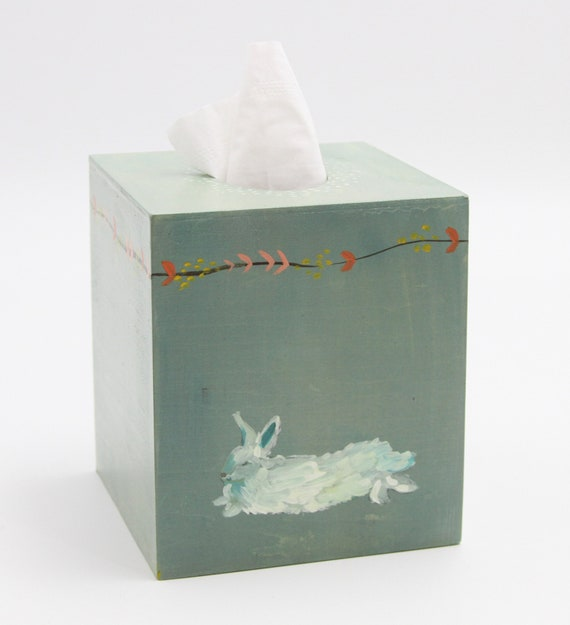 Bunny tissue box cover, wood tissue box cover, wood tissue box, tissue box holder, tissue holder, kleenex box cover, primitive rabbit
