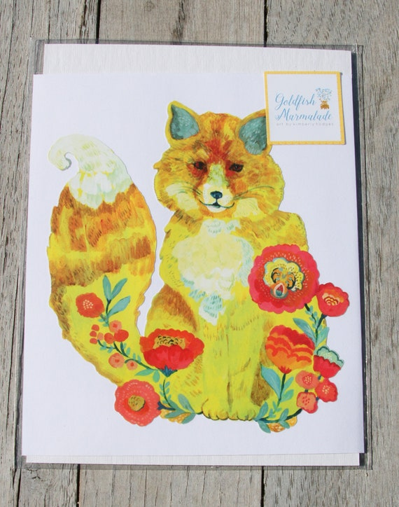 Fox vinyl decal, yellow fox decal by Kimberly Hodges, fox sticker, fox car decal, fox wall sticker, yeti decal, fox stickers, cute fox, fox