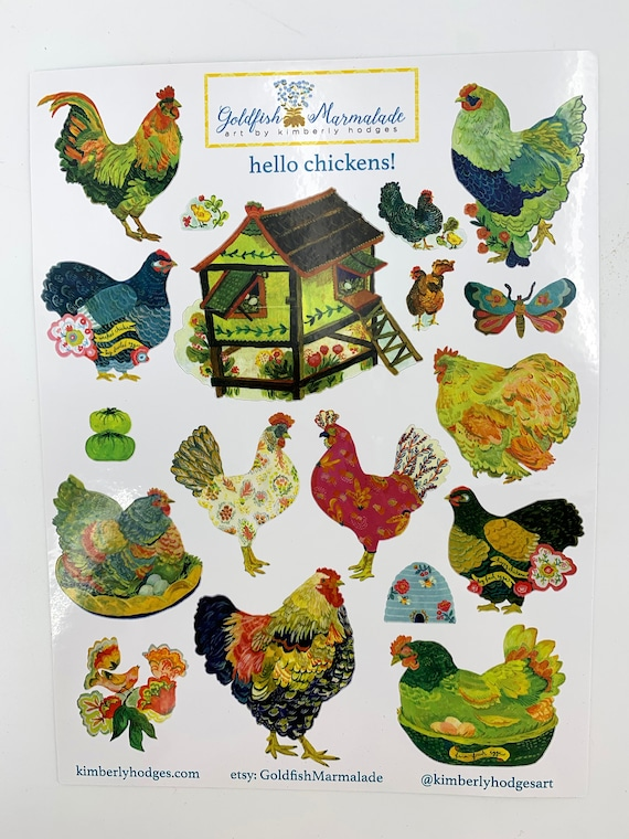 Chicken stickers by Kimberly Hodges, bird stickers, chicken sticker sheet, chicken coop, rooster decal, hen stickers, chicken bujo stickers